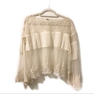 Free People Boho Bell Sleeve Sheer Ivory Top